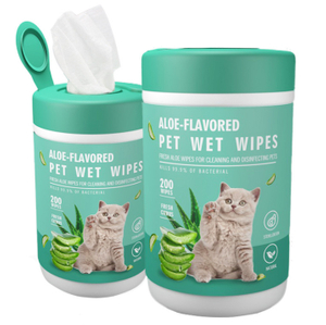 OEM Aloe Flavored Nonwoven Antibacterial Dog Cat Pet Animal Cleaning Water Wet WipeTissues