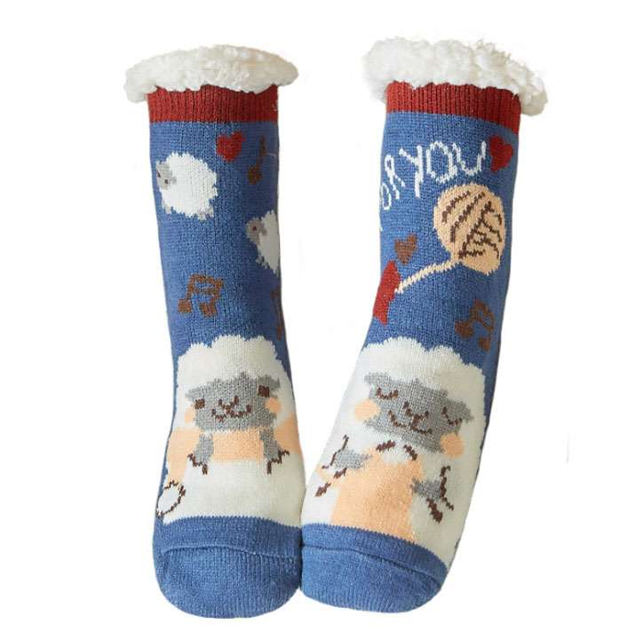 Winter Women Slippers Home Socks Christmas Cartoon Floor Socks Plush Velvet Non-slip Carpet Fluffy Warm Socks
