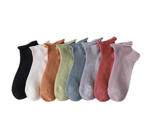 Breathable Pure Cotton Roll Top Women Ankle Socks